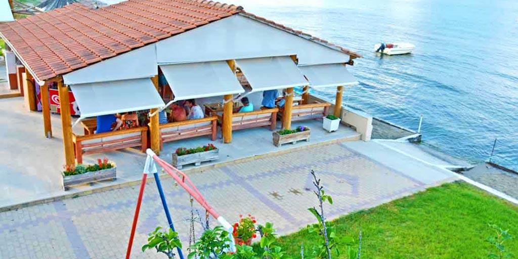 Terrace sea view from Seafront Apartments Studios Kavos Corfu